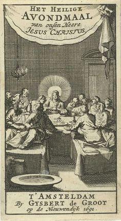 Jan Luyken | Christus met zijn discipelen aan het laatste avondmaal, Jan Luyken, Gijsbert de Groot, 1691 |