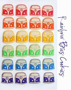 too cute - Rainbow Bus Sugar Cookies  I am Baker