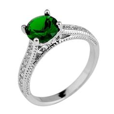 Women/Men Round Green Emerald Ring Anel Aneis White Gold Filled White CZ Wedding Band Engagement Rings RW1090  #rings #jewelry #jewelrysets #bridal #jewellery