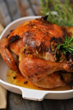 Brined and roasted with a garlic herb butter, this chicken is stuffed with oysters, mushrooms and sourdough. Egg Recipes, Turkey Recipes, Crockpot Recipes, Chicken Recipes, World's Best Food, Good Food, Herb Butter, Recipes From Heaven, One Pot Dinners