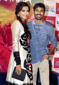 Actors Sonam Kapoor with Dhanush during promotion of their film Raanjhanaa in Mumbai. ■ Photo: PTI