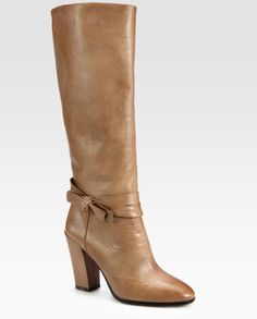 Kate Spade Mandie Leather Bow Kneehigh Boots in Brown