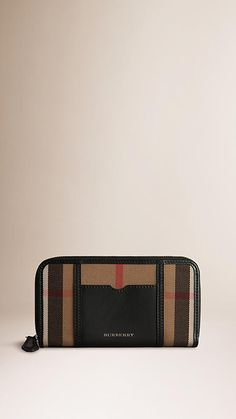 e278782ea2b6 Burberry Black House Check Sartorial Leather Wallet - House check cotton  twill wallet with rich sartorial leather trim and a ziparound closure.