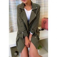 $12.50 Buttons Embellished Pockets Long Sections Cotton Solid Color Trench Coat For Women