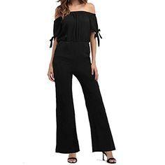 5ffe3e703e03 Jumpsuits for Women Chiffon Floral Solid Color Off Shoulder Wide Leg Short  Sleeves Tie Romper