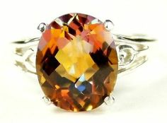 SR139, 4.5 cts Twilight Fire Topaz, Sterling Silver Ring
