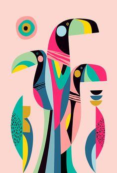 Toucan Art Print by Rachel Lee - X-Small Illustration Mode, Diy Canvas Art, Mural Art, Framed Art Prints, Black Framed Art, Geometric Art, Bird Art, Fabric Painting, Pop Art