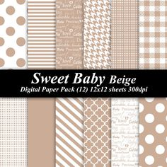 Sweet Baby Beige Digital Paper Pack (12) 12x12 sheets 300 dpi scrapbooking invitations shower baby brown tan -- $4.00