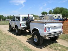Classic Ford Bronco with matching trailer