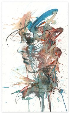 momentary tranquility ink and tea with pigment pen on 535gsm bockingford watercolour paper 37x22cm by Carne Griffiths