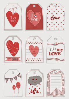 Tarjetas gratis para tus regalos de San Valentín. Free printable Valentine's tags.