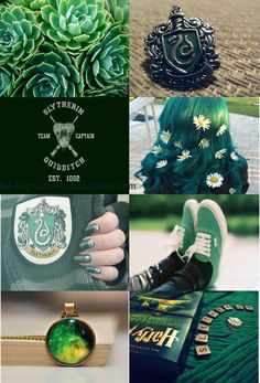 """the-hogwarts-student: """"Last, but not least… Slytherin aesthetic. I think this one is my favourite! If you want me to make more, feel free to send me requests by submitting or my ask box :) """""""