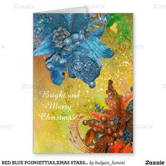 RED BLUE POINSETTIAS,XMAS STARS IN GOLD SPARKLES GREETING CARD