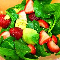 Spinach Salad with Strawberries and Avocado - Perfect recipe for 21 Day Fix or the 3 Day Refresh to get you bikini ready! Recipe on the blog!
