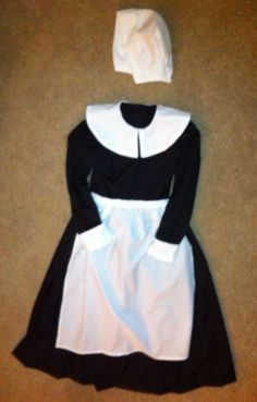 Pilgrim girl 3 piece costume (all cotton, zipper back closure, dress, with hat and apron). AGHcustomcostumes on facebook and Etsy,