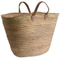 Leather-handled French Market Shopping Basket
