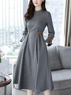 Plaid Band Collar Pocket Maxi Dress                      – Stylishplus