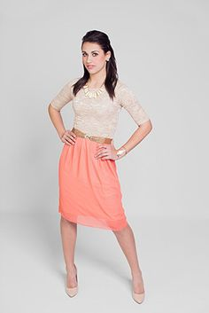 Beige lace elbow sleeve blouse and a coral skirt. How cute!!!