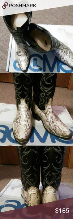 Acme Cowboy Boots Authentic snakeskin boots with toe caps. Size 91/2, I wear 81/2-9 & they fit me perfectly. Circumference at top is 14. Great condition. Acme  Shoes Combat & Moto Boots