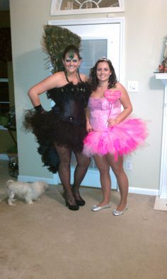 """@Ashley Garrett and I in the 2011 Halloween costumes that I made. (""""Princess Sparkles"""" and """"Peacock Showgirl"""")"""