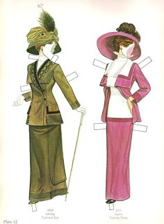 Great Fashion Designs of La Belle Époque  Paper Dolls by Tom Tierney - Dover Publications, Inc.,1982: Plate 12 (of 16)