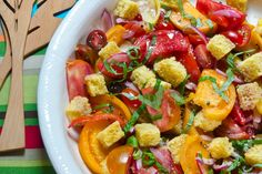 Celebrate summer with Panzanella, a Tuscan bread salad that we made Southern style by using cornbread. This recipe is great throughout the summer and easy for a cookout.  Never had panzanella?  Think bruschetta in a bowl.  Toss cornbread, tomatoes and some olive oil and vinegar and you have it. Olive Oil And Vinegar, Bread Salad, Food Displays, Southern Style, Bruschetta, Cornbread, Tomatoes, Easy, Summer