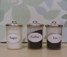 Set of miniature kitchen canisters - discarded plastic spray bottle caps and  silver buttons -  label template provided