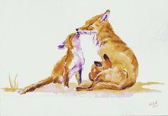 """Watercolor, """"Foxy Family,"""" by Debra Hall, Fine Art America."""