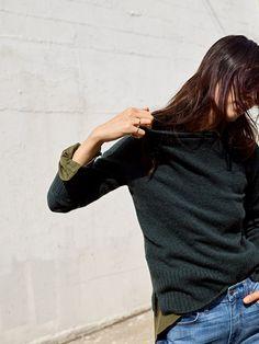 150a98681da madewell inland turtleneck sweater worn with flannel classic ex-boyfriend  shirt + high-rise