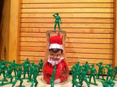 elf on the shelf ideas- funny. Have to do this with Barbies & monster trucks.