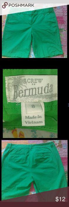 cotton spandex stretch Bermuda green shorts J.Crew ladies size 8 cotton spandex stretch Bermuda green shorts J. Crew Shorts Bermudas