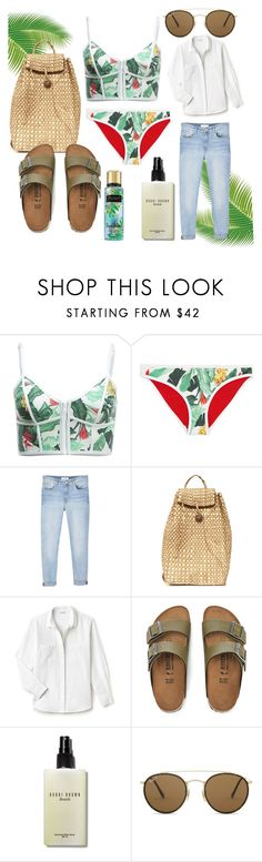 """""""Day in the sun"""" by leah-karas-96 ❤ liked on Polyvore featuring Duskii, MANGO, Lacoste, Birkenstock, Bobbi Brown Cosmetics and Ray-Ban"""