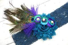 Sparkle peacock blue chiffon flower w silk by AdoraBowsByLeilaHale, $15.00