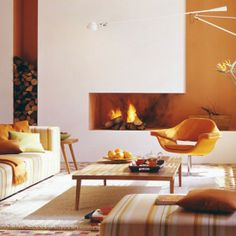 A subtle approach to using orange in this warm and relaxing living room.