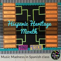 Hispanic Heritage Month Music Madness in Spanish class! - Mis Clases Locas- bulletin board for Spanish class Learning Spanish For Kids, Teaching Spanish, Spanish Lesson Plans, Spanish Lessons, Spanish 1, Honduras, Months In Spanish, Puerto Rico, Cuba