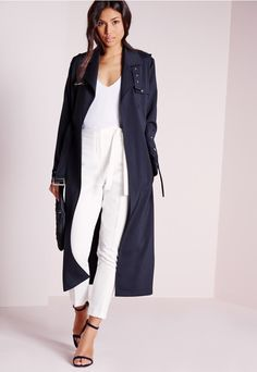 Clothing for tall women >> Tall Exclusive Military Trench Coat Navy - Missguided