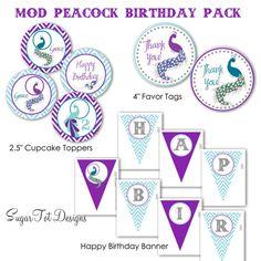 Mod Peacock Birthday Party Pack  Peacock by SugarTotDesigns, $15.00