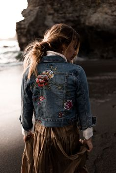 The 'Floral Crush Denim Jacket'    A bit of feminine + vintage feel on Sonya Esman