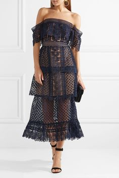 Self-Portrait | Off-the-shoulder tiered guipure lace midi dress
