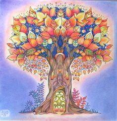 Johanna Basford Enchanted Forest adult coloring book. Enchanted Forest Tree - Johanna Basford Bűvös erdő felnőtt színezőkönyv