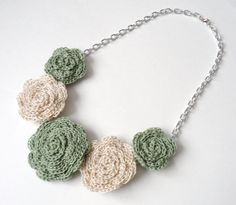 Sage Green and Cream Rose Bib Necklace by SoozieCutiePatooties