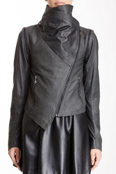 Doma Asymmetrical Zip Leather Jacket