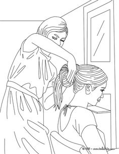 Girl having her hair done by a hairdresser coloring page. Amazing way for kids to discover job. More original content on hellokids.com