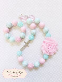 Easter Flower and Cross Rhinestones Chunky Bubble Gum Necklace - Photo Prop Fashion Accessory