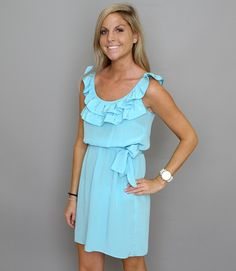 ruffle aqua dress ~ this would not be flattering at all on me but it is so cute!