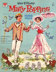 Mary Poppins Printable Paper dolls Vintage Disney w/  Michael Jane Bert & 28 Costumes 1973 Whitman 8 Digital Sheets Collage