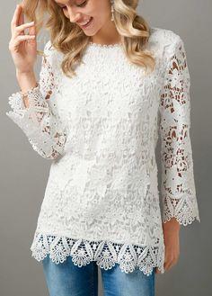 White Scalloped Hem Zipper Back Lace Blouse White Salwar Suit, Royal Blue T Shirt, White Lace Blouse, Scalloped Hem, Red Blouses, Trendy Tops, Blouse Styles, My Style, Clothes