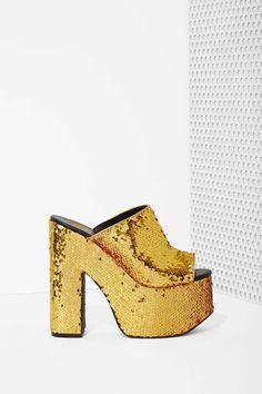 YRU Dream Sequin Platform - Gold | Shop Shoes at Nasty Gal