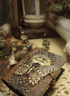 Steampunk I Believe - Wearable Book Mixed Media Necklace....