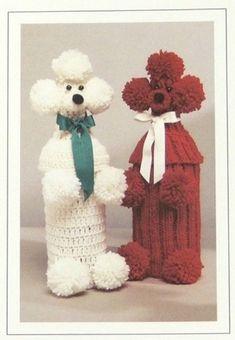 Crochet Patterns Gifts PDF Pattern Poodle Bottle Covers by QueenOfAllCrafts Knit Or Crochet, Crochet Doilies, Scarf Crochet, Christmas Holidays, Christmas Gifts, Crochet Christmas, Wine Bottle Covers, Crochet Instructions, Pattern Books
